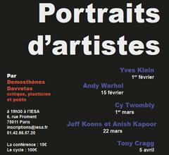 Conférence IESA art&culture de Demosthènes Davvetas Portraits d'artistes - Jeff Koons et Anish Kapoor